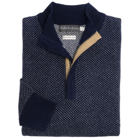 Bullock & Jones Wool-Cashmere Birdseye Sweater - Zip Neck (For Men)