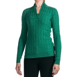 Forte Cashmere Cable Sweater - 2-Ply, 12gg, V-Neck (For Women)