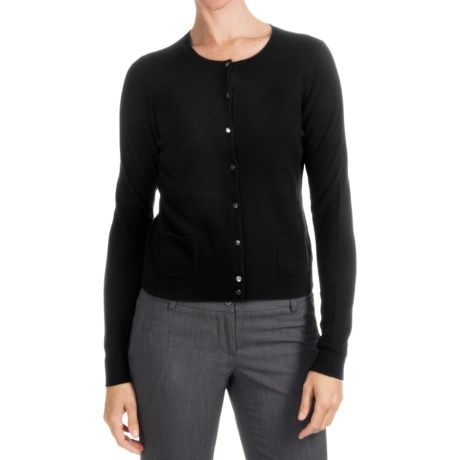 Forte Cashmere Cardigan Sweater - 2-Ply 12-Gauge, Double Pocket (For Women)