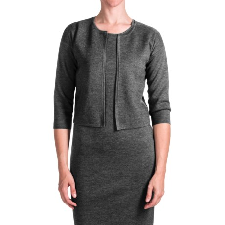 Forte Cashmere Luxe Milano Crop Cardigan Sweater - Merino Wool-Silk, 3/4 Sleeve (For Women)