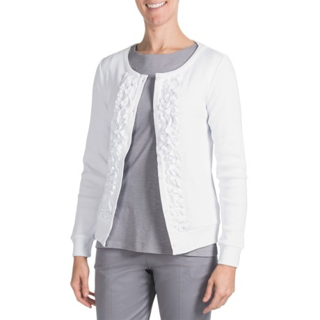 Pendleton Ruffle Cardigan Sweater (For Plus Size Women)