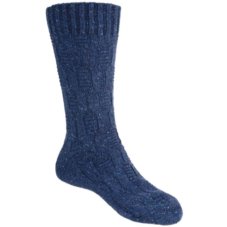 Pantherella Tweed Solid Cable Socks - Merino Wool, Crew (For Men)
