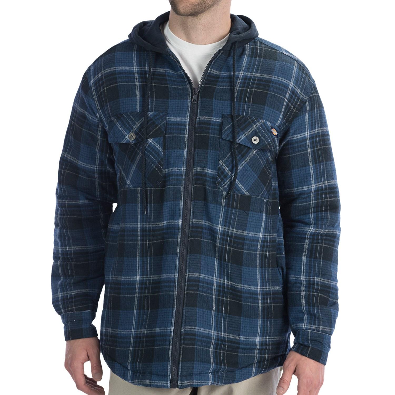 Dickies Flannel Full Zip Hoodie Sweatshirt For Big Men