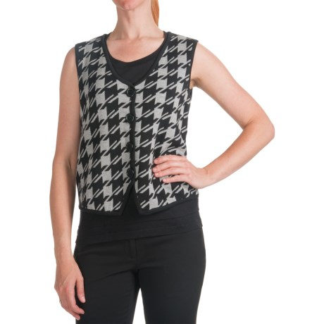Houndstooth Knit Sweater Vest (For Women)