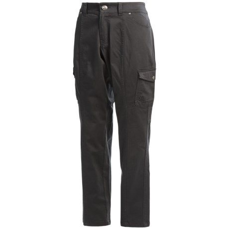 Stretch Cotton Cargo Pants - Flat Front (For Women)
