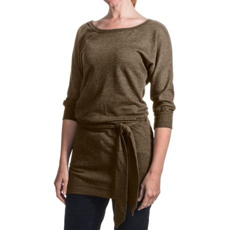 Belted Knit Tunic Shirt - 3/4 Sleeve (For Women)