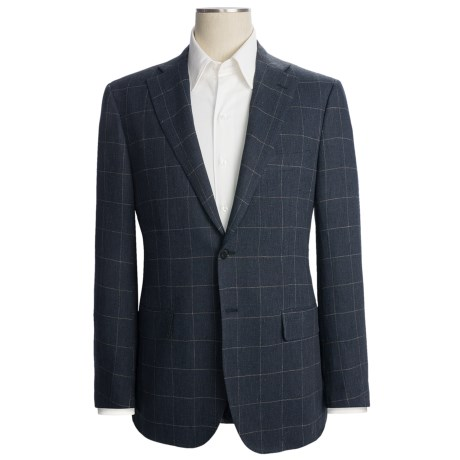 Isaia Windowpane Sport Coat - Linen (For Men)