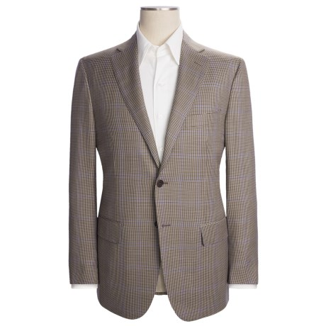 Isaia Wool Houndstooth Sport Coat - Windowpane Overlay (For Men)