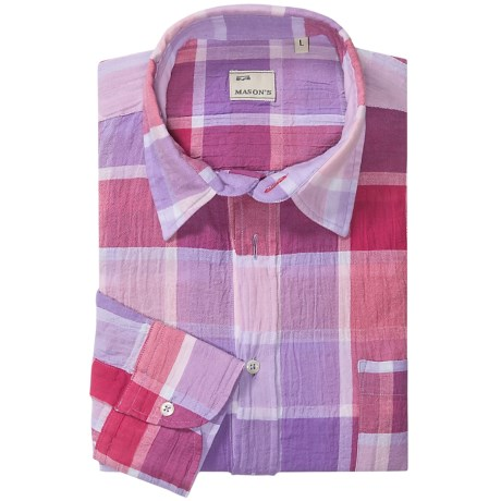 Mason's Italian Cotton Plaid Sport Shirt - Long Sleeve (For Men)