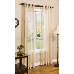 "Habitat Sheer Natural Grid Curtains - 104x95"", Grommet-Top"