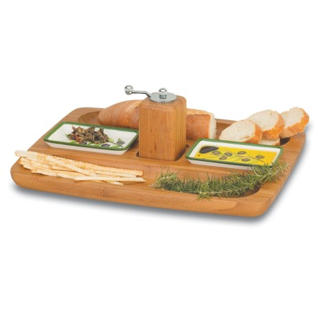 Picnic Time Tuscano Bamboo and Ceramic Serving Tray with Grinder