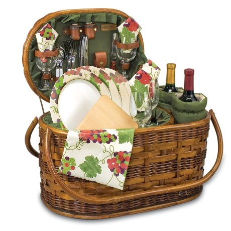 Picnic Time Merlot Deluxe Wine Connoisseurs Basket Set - 25-Piece