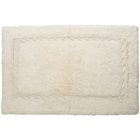Espalma Bathroom Rug with Cable-Knit Border - Cotton, 21x34""