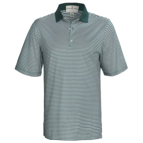 Fairway & Greene Classic Stripe Lisle Polo Shirt - Short Sleeve (For Men)