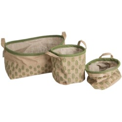 Tag Printed Jute Canvas Baskets - Set of 3