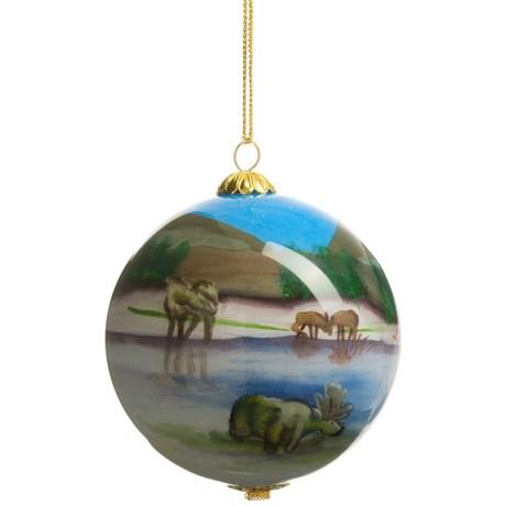 Zhen Zhu Moose Ornament - Hand-Painted Glass