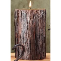 """Deco Glow Sculpted Bark Pillar Candle - Evergreen Fir Scent, 4x7"""""""