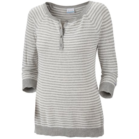 Columbia Sportswear Perfect Layer Striped Henley Sweater - Cotton-Linen, 3/4 Sleeve (For Women)