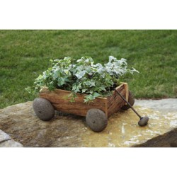 Ancient Graffiti Wood and Stone Wagon Planter