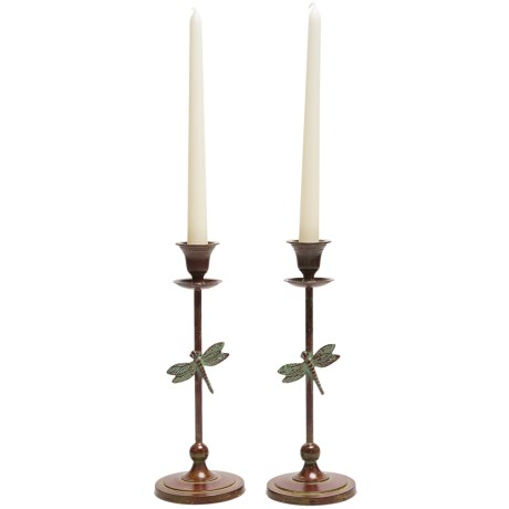 Ancient Graffiti Brass Candlesticks - Pair