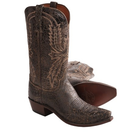 Lucchese Crackle Leather Western Boots - 5-Blunt Toe (For Men)