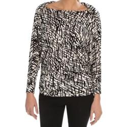 Gathered Waist Shirt - Long Dolman Sleeve (For Women)
