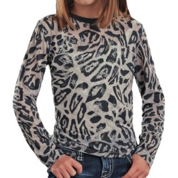 Rock & Roll Cowgirl Rhinestone Leopard T-Shirt - Long Sleeve (For Girls)