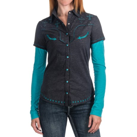 Panhandle Slim Layered-Look Shirt - Long Sleeve (For Women)