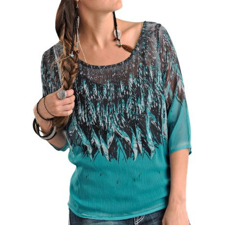 Rock & Roll Cowgirl Printed Georgette Blouse - 3/4 Dolman Sleeve (For Women)