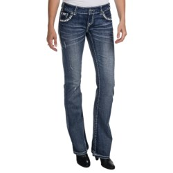 Rock & Roll Cowgirl Nailhead Zigzag Embroidered Jeans - Low Rise, Bootcut (For Women)