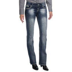 Rock & Roll Cowgirl Embroidered Lightning Bolt Jeans - Low Rise, Bootcut (For Women)