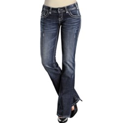 Rock & Roll Cowgirl Denim Patch Nailhead Jeans - Low Rise, Bootcut (For Women)