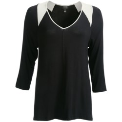Nicole Miller Stretch Rayon Loungewear Shirt - 3/4 Sleeve (For Women)