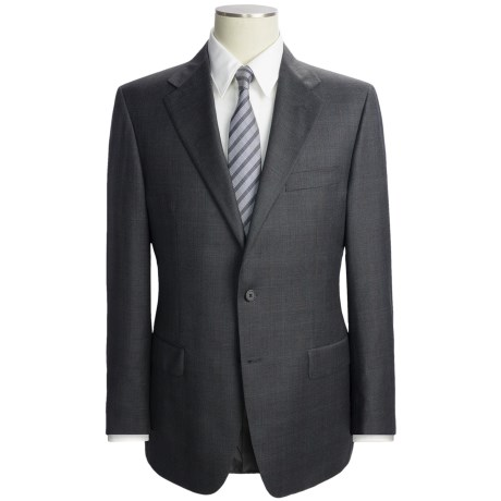 Hickey Freeman Fancy Solid Suit with Subtle Check Overlay - Wool (For Men)