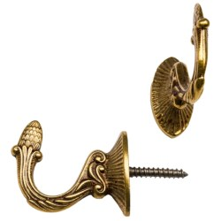 Vali & Colombo Brass Wall Screw Hooks - Pair