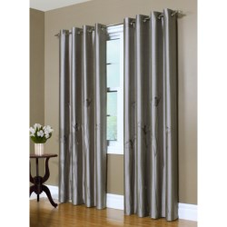 """Habitat Faux-Silk Curtains with Lily Embroidery - 108x95"""", Grommet-Top"""