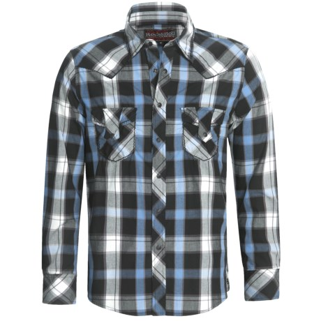 Rock & Roll Cowboy Poplin Plaid Shirt - Heavy Stitching, Long Sleeve (For Men)