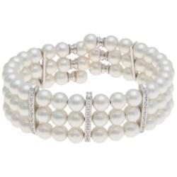 Joia de Majorca Organic Pearl Bracelet - 3-Row, Cubic Zirconia Accent