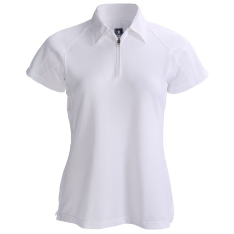 Champion Double Dry Polo Shirt - Zip Neck, Short Sleeve (For Women)