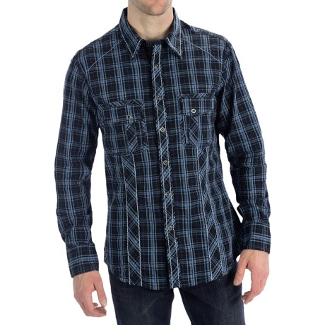 Rock & Roll Cowboy Satin Plaid Shirt - Contrast Poplin Trim, Snap Front, Long Sleeve (For Men)