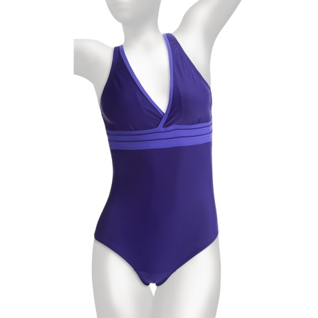 Speedo Solid Piped One-Piece Swimsuit - V-Neck (For Women)