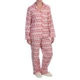 KayAnna Printed Flannel Pajama Set - Cotton, Long Sleeve (For Women)