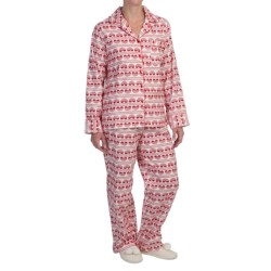 KayAnna Printed Flannel Pajama Set - Cotton, Long Sleeve (For Women)