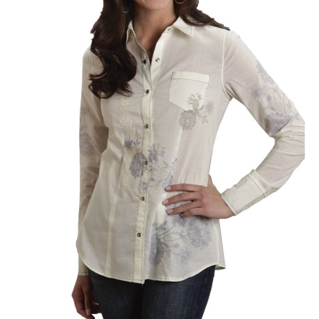 Stetson Solid Cotton Lawn Shirt - Snap Front, Long Sleeve (For Women)
