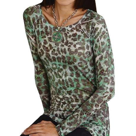Roper Five-Star Ranch Burnout Shirt - Couture Printed, Long Sleeve (For Women)