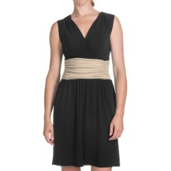 Lilla P Color-Block Shirred Waist Dress - Pima-Modal, Sleeveless (For Women)