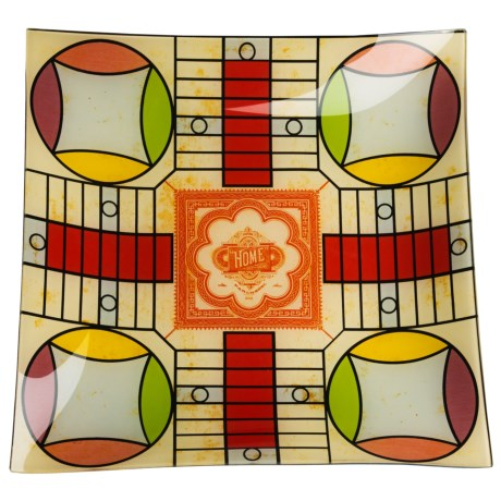 Two's Company Game Day Glass Serving Platter - Parcheesi