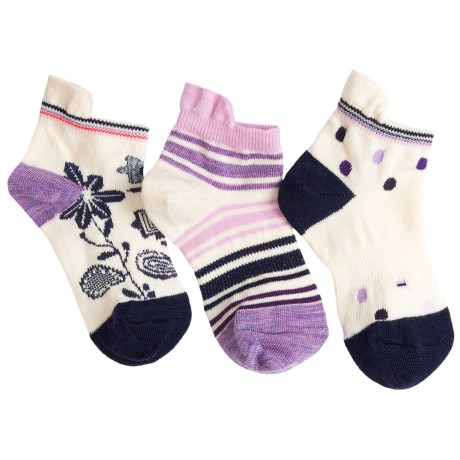 SmartWool Micro Socks - Merino Wool, 3-Pack Singles (For Girls)