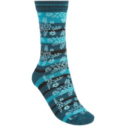 Koi by Goodhew Stripy Flower Crew Socks - Merino Wool (For Women)