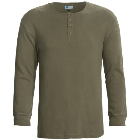 Majestic Sanded Cotton Henley Shirt - Long Sleeve (For Men)